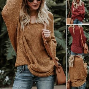 Red / Tan Baggy Sweater